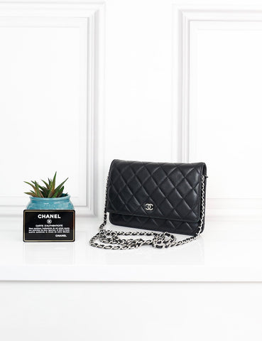 CHANEL BAGS One size / Black CHANEL Timeless Classic Quilted Lambskin Wallet on Chain WOC