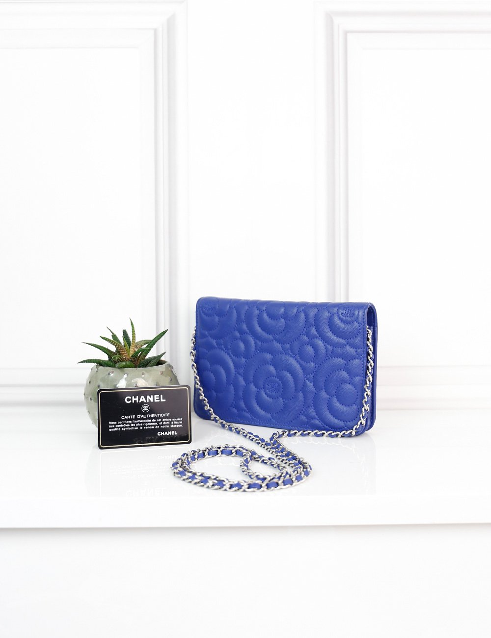 CHANEL BAGS One size / Blue CHANEL Camellia Wallet On Chain Bag