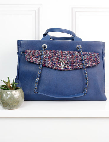 CHANEL BAGS One size / Blue CHANEL Caviar leather Coco Break Large Shopping Tote Bag