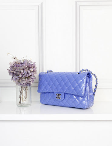 CHANEL BAGS One size / Blue CHANEL Classic Double Flap Bag Quilted Patent Lambskin Medium