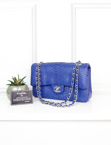 CHANEL BAGS One size / Blue CHANEL Classic Medium Blue Exotic Leather Double Flap Bag