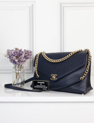 Chanel blue Coco Envelope chevron bag- My Wardrobe Mistakes