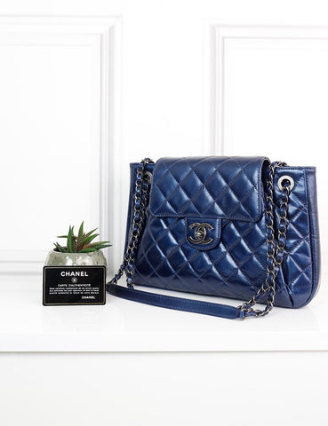 CHANEL BAGS One size / Blue CHANEL Glazed Quilted Accordion Flap Bag