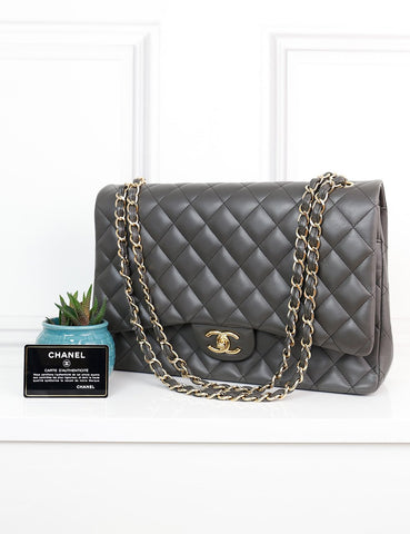 CHANEL BAGS One size / Brown CHANEL Classic Maxi Double Flap Bag in dark taupe quilted leather