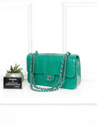 CHANEL BAGS One size / Green CHANEL Exotic Leather Medium Classic Double Flap Bag