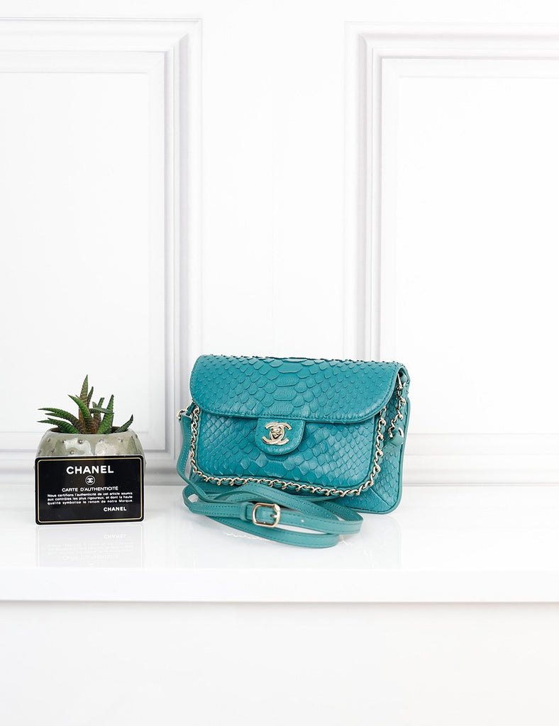 CHANEL BAGS One size / Green CHANEL Exotic Leather Small CC Unchained Flap Bag