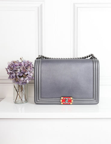 Chanel grey Large Boy Cube bag limited edition- My Wardrobe Mistakes