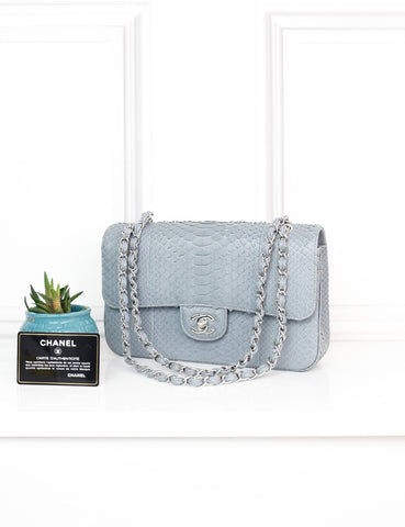 CHANEL BAGS One size / Grey CHANEL Medium Timeless Classic Double Flap Bag in grey Exotic Leather with silver-tone hardware- My Wardrobe Mistakes
