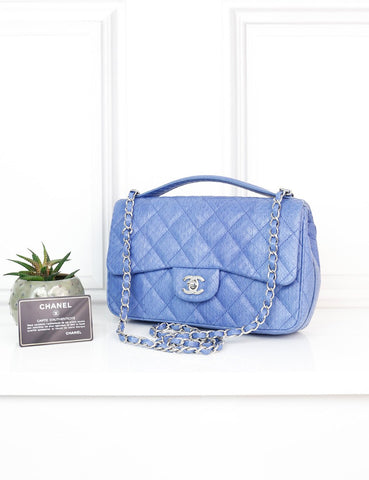 CHANEL BAGS One size / Light blue CHANEL Easy Carry Medium Flap Bag in light blue exotic leather