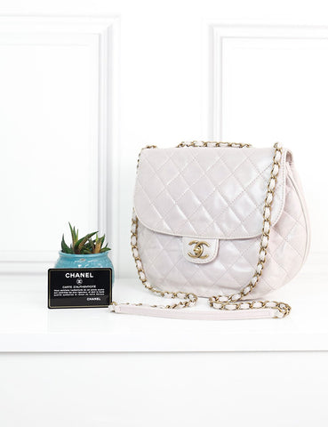 CHANEL BAGS One size / Light pink CHANEL Medium Iridescent Crumpled leather Messenger Bag