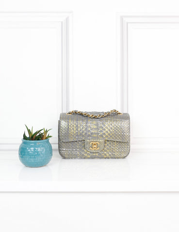 CHANEL BAGS One size / Multicolour CHANEL Classic Mini Flap Bag in grey and gold Exotic Leather