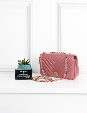 CHANEL BAGS One size / Pink CHANEL Small Chevron Statement Flap Bag