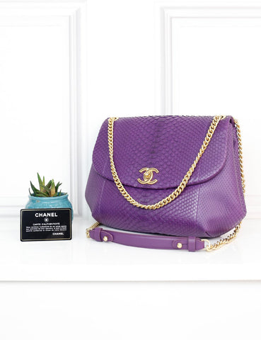 CHANEL BAGS One size / Purple CHANEL Exotic Leather Bowling Crossbody Flap Bag