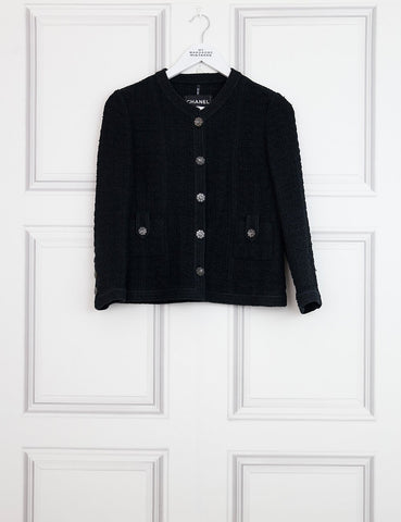 CHANEL CLOTHING 10UK-42IT-38FR / black CHANEL Iconic tweed jacket with two pockets