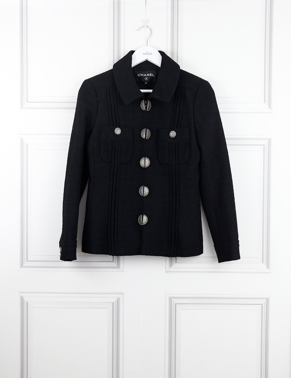 CHANEL CLOTHING 10UK-42IT-38FR / Black CHANEL Jacket with round buttons and two pockets