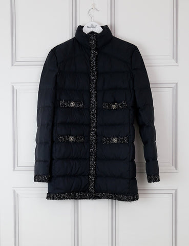 CHANEL CLOTHING 10UK-42IT-38FR / black CHANEL Padded coat with tweed details