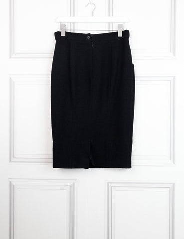 Chanel black Pencil woollen skirt with logo detail 12Uk- My Wardrobe Mistakes