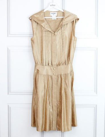 Chanel gold hooded silk printed dress 12Uk- My Wardrobe Mistakes