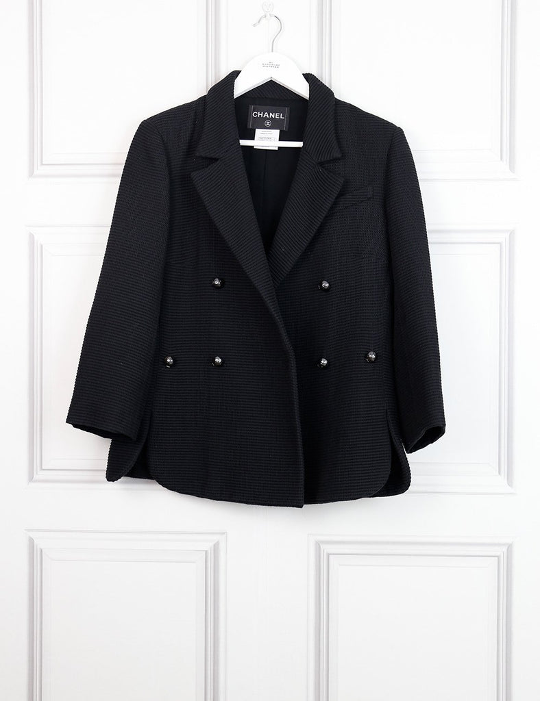 CHANEL Double breasted jacket with branded button black 14Uk- My Wardrobe Mistakes