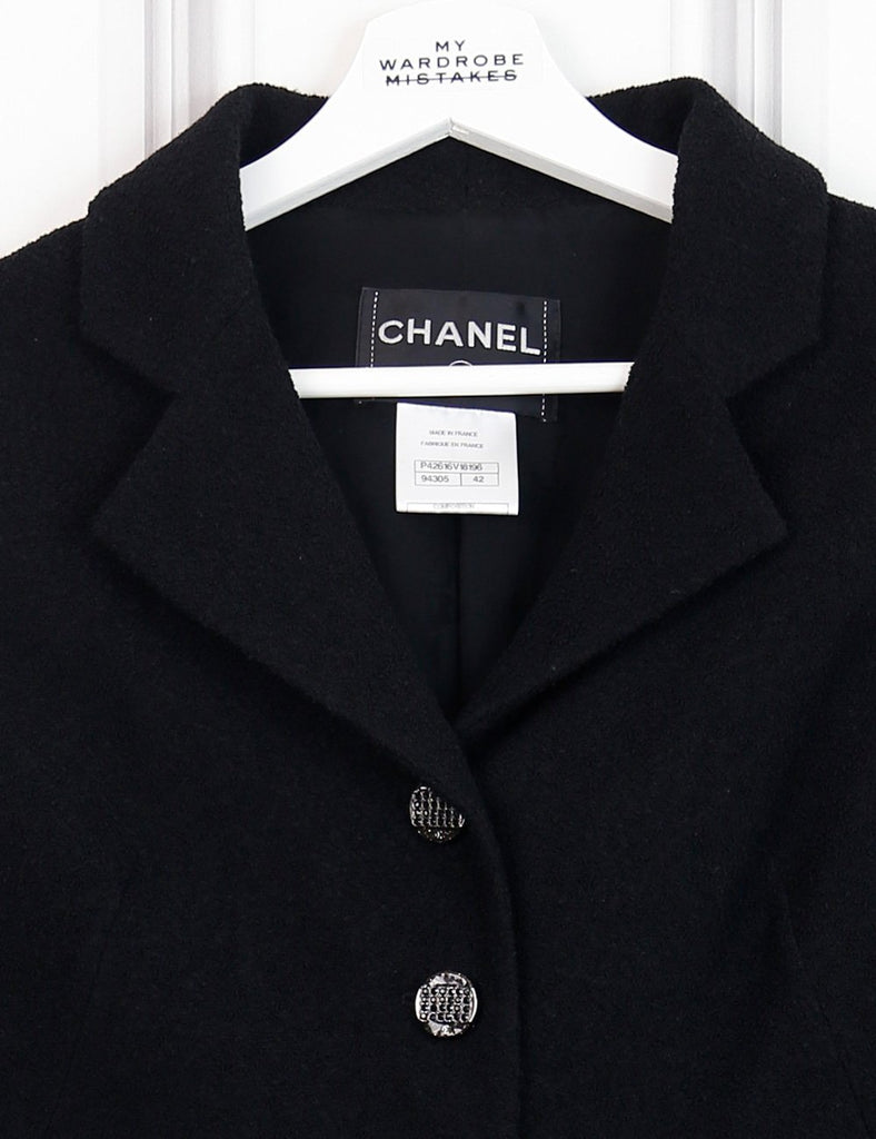 Chanel black Short jacket with branded buttons 14Uk- My Wardrobe Mistakes