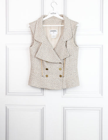 Chanel beige tweed waistcoat with branded buttons 14UK- My Wardrobe Mistakes