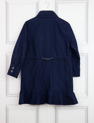 CHANEL CLOTHING 6UK-38IT-34FR / Blue CHANEL Tweed Belted Cotton Duster Coat