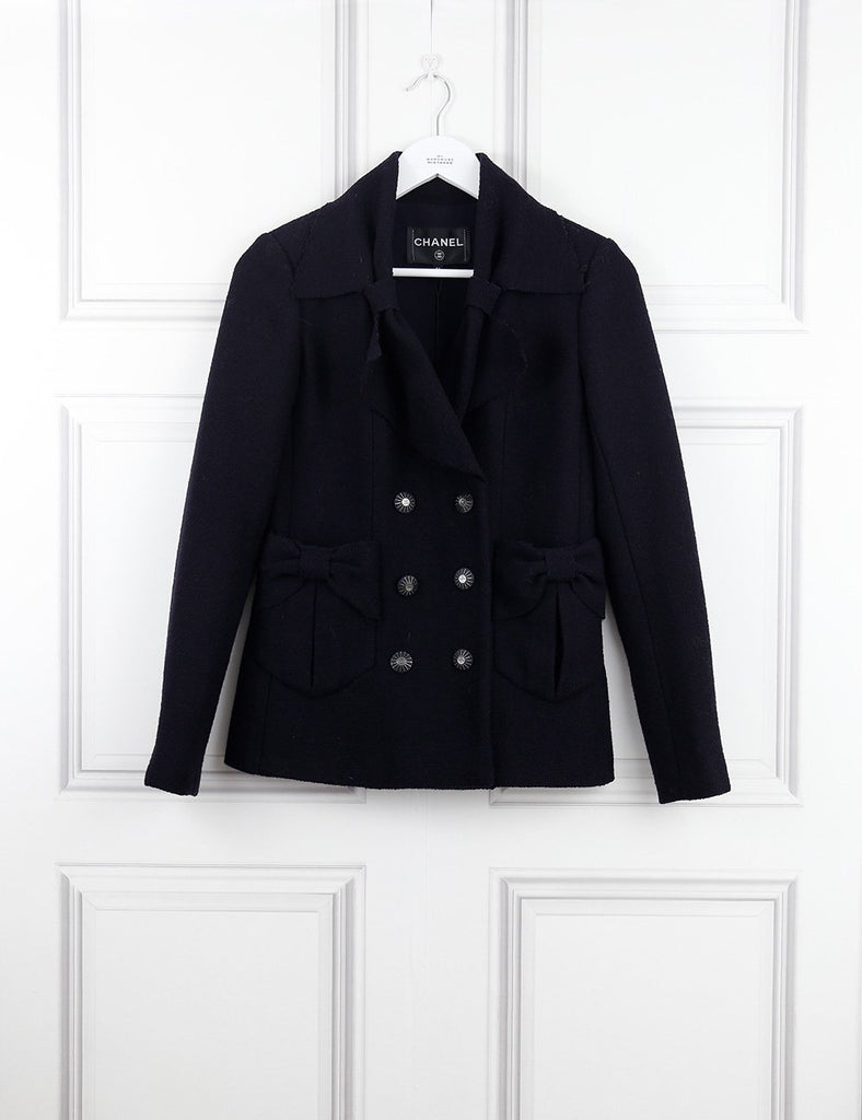 Chanel navy blue jacket with bow details 6UK- My Wardrobe Mistakes