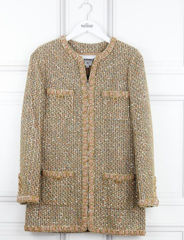 CHANEL CLOTHING 6UK-38IT-34FR / Nude and neutrals CHANEL Tweed collarless coat