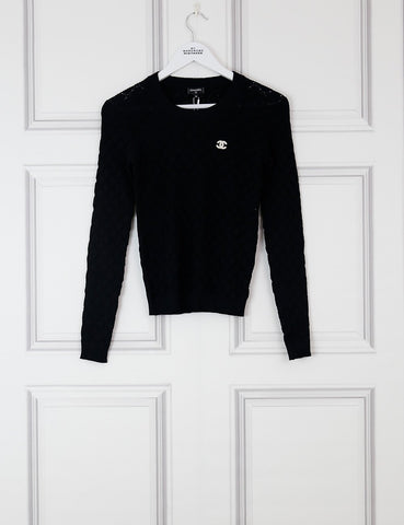 CHANEL CLOTHING 8UK-40IT-36FR / Black CHANEL Crew-neck pullover with embroidered logo CC