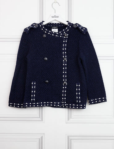 CHANEL CLOTHING 8UK-40IT-36FR / Blue CHANEL Tweed cardigan with pearl details