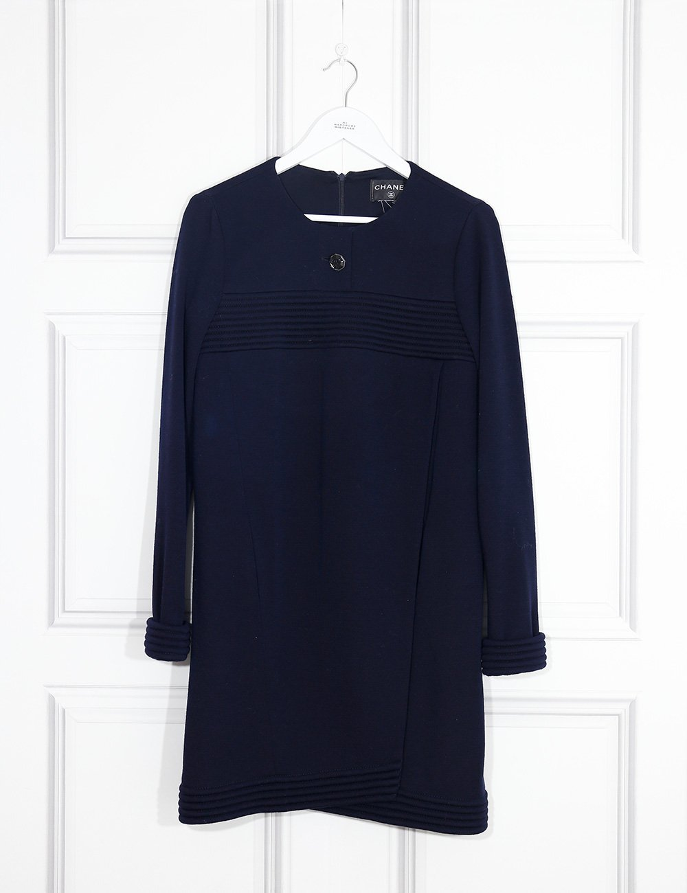 Chanel blue woollen dress with one button 8UK- My Wardrobe Mistakes