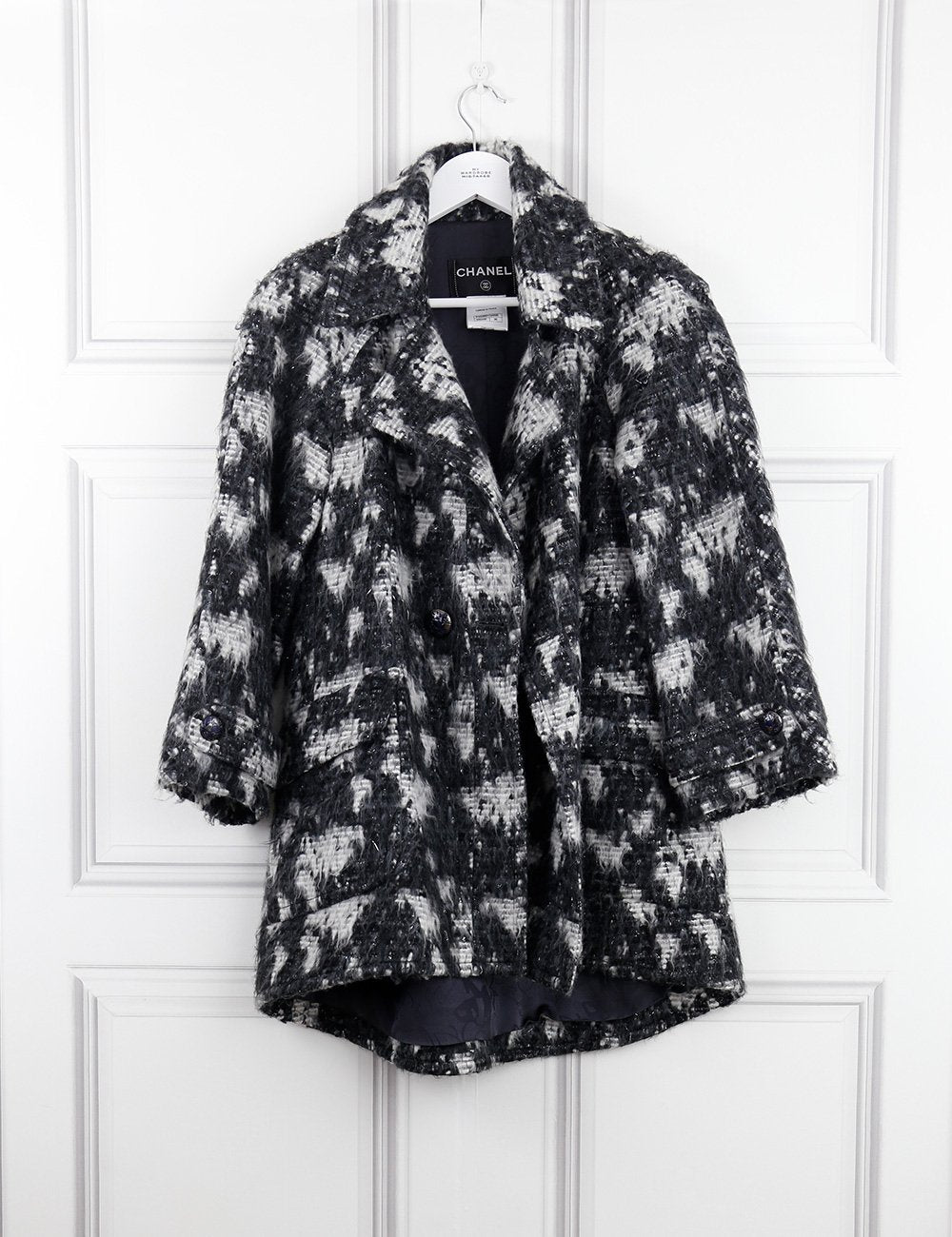 CHANEL multicolour Coat with Planet Earth buttons 8Uk- My Wardrobe Mistakes