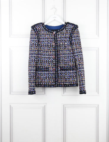 Chanel multicolour short tweed  jacket  with branded buttons 8Uk- My Wardrobe Mistakes