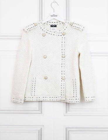 CHANEL CLOTHING 8UK-40IT-36FR / Multicolour CHANEL Tweed cardigan with pearls details and branded buttons