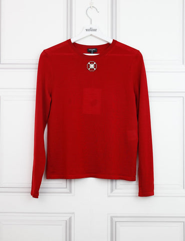 CHANEL CLOTHING 8UK-40IT-36FR / Red CHANEL Crew neck jumper with camellia detail