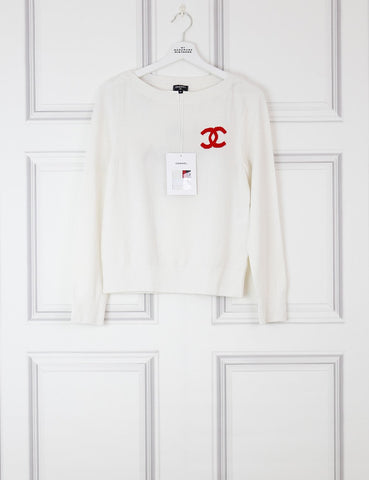 CHANEL CLOTHING 8UK-40IT-36FR / white Cashmere pullover limited collection La pausa