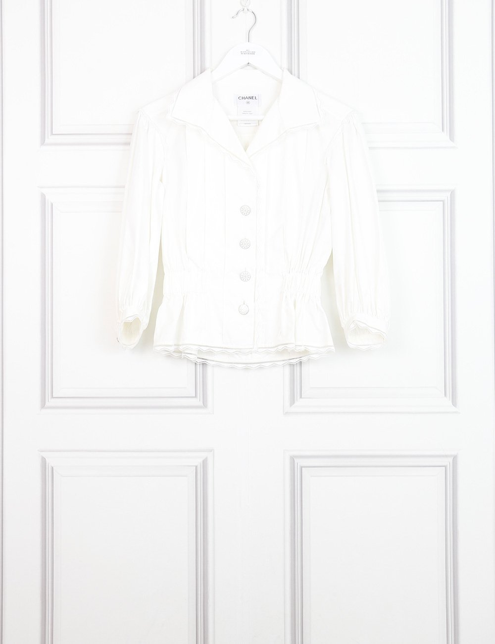 Chanel white tailored shirt with pleats and delicate hem 8UK- My Wardrobe Mistakes