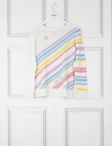 CHANEL CLOTHING 8UK-40IT-36FR / white La pausa cashmere pullover with stripes motives and logo