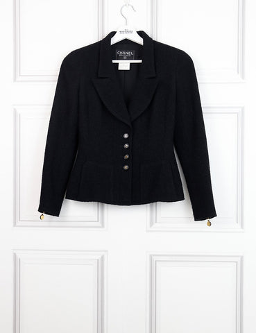 CHANEL black Tweed jacket with collar and 4 logo buttons 10Uk- My Wardrobe Mistakes