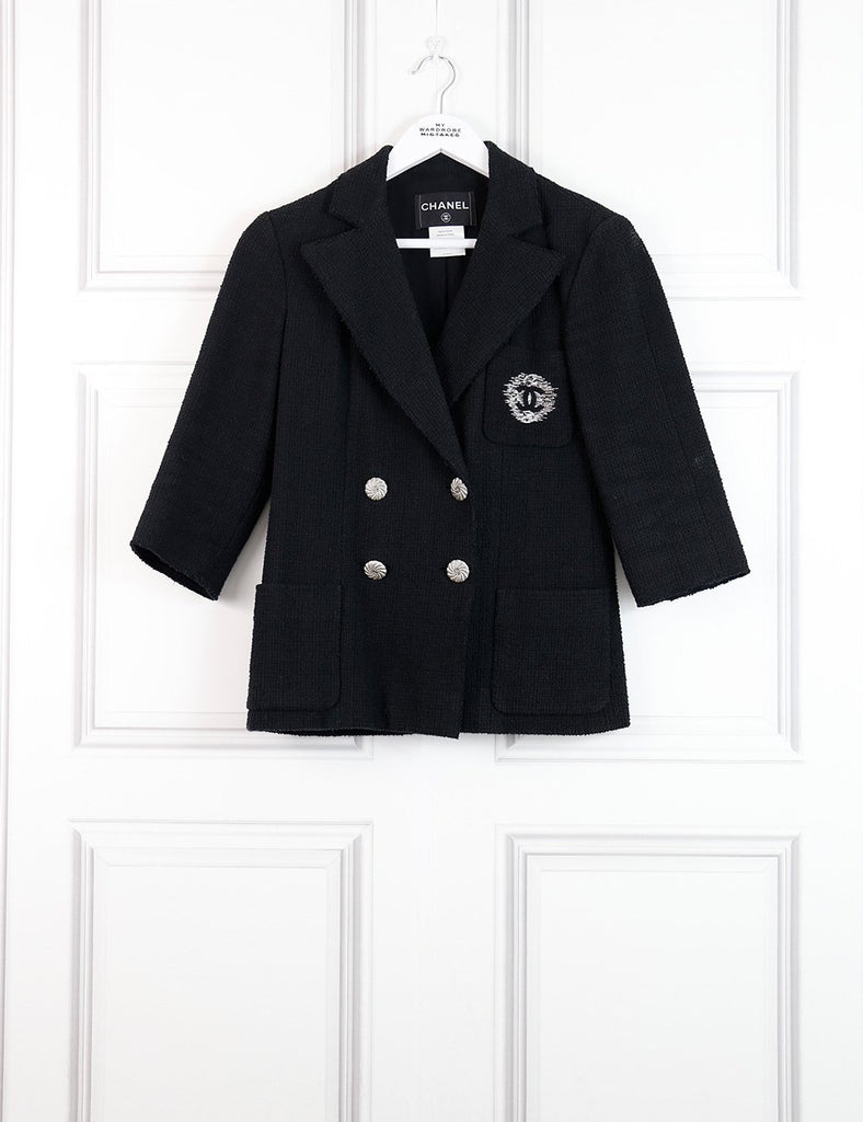 CHANEL black Jacket with feature buttons and embroidered Chanel logo 8Uk- My Wardrobe Mistakes