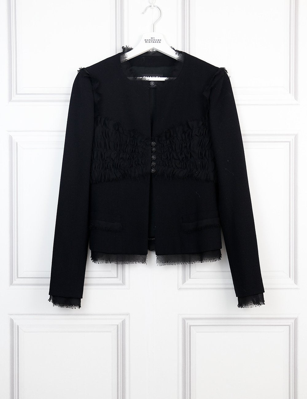 CHANEL CLOTHING Collarless jacket with pleats and strass buttons