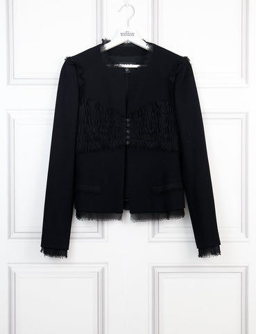 CHANEL CLOTHING black Collarless jacket with pleats and strass buttons 8Uk- My Wardrobe Mistakes