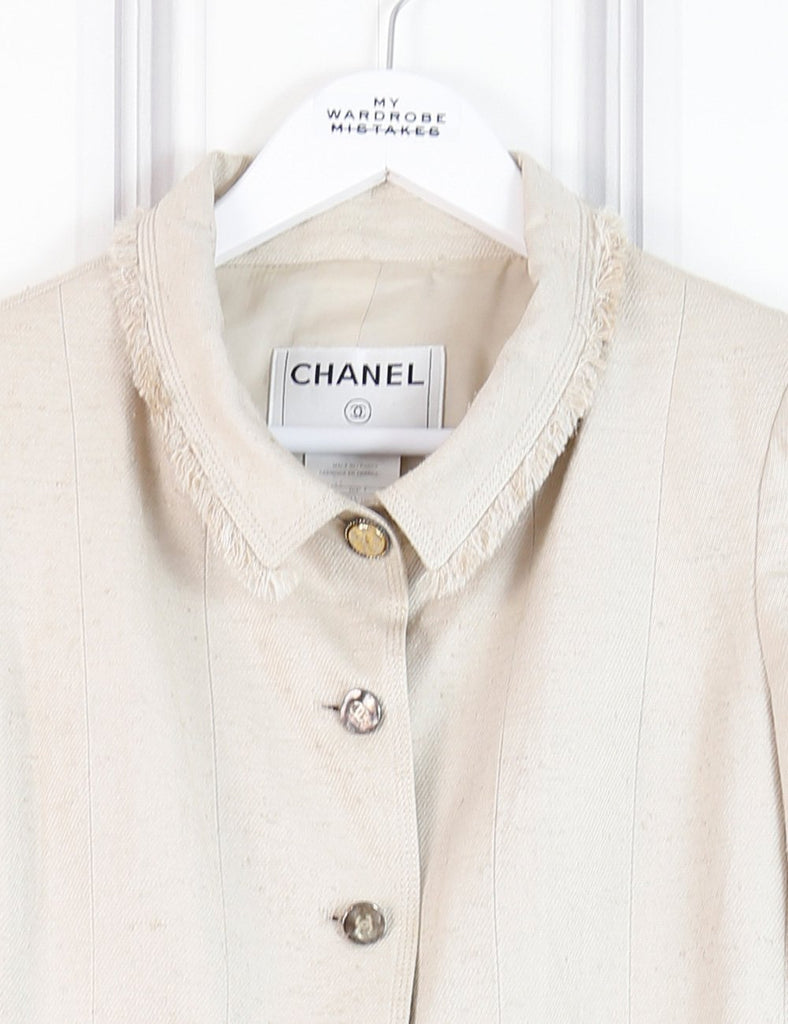 CHANEL cream Linen jacket with collar and 5 gold buttons 8Uk- My Wardrobe Mistakes