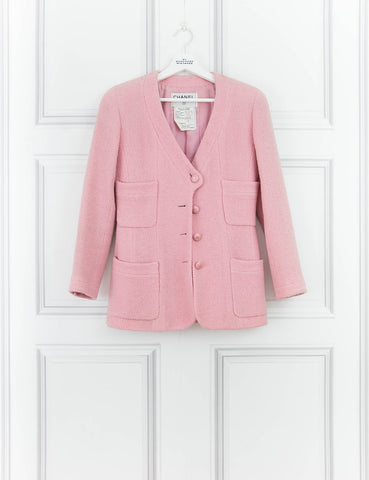 CHANEL CLOTHING Pink woven jacket with pockets
