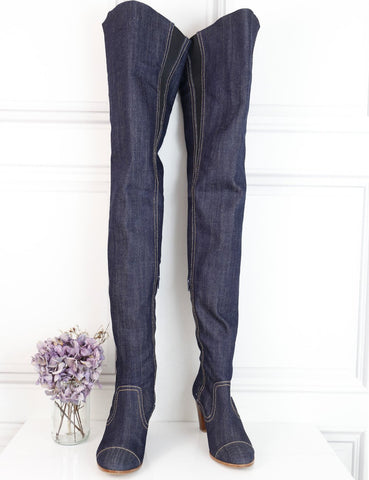 Chanel blue Thigh high denim boots 2.5Uk- My Wardrobe Mistakes