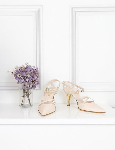 Chanel cream criss cross front slingback pumps 4.5Uk