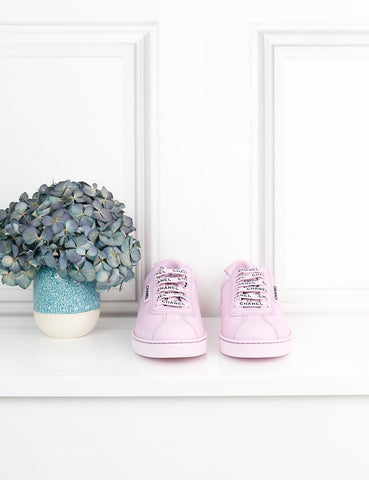 CHANEL SHOES 4UK-37IT-38FR / pink Low sneakers in leather with logo details