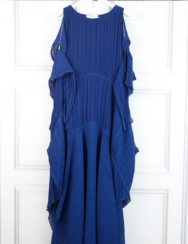 Chloe blue fully pleated dress 12 Uk- My Wardrobe Mistakes