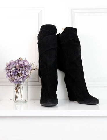 Chloe black suede platform boots with open back 4UK- My Wardrobe Mistakes