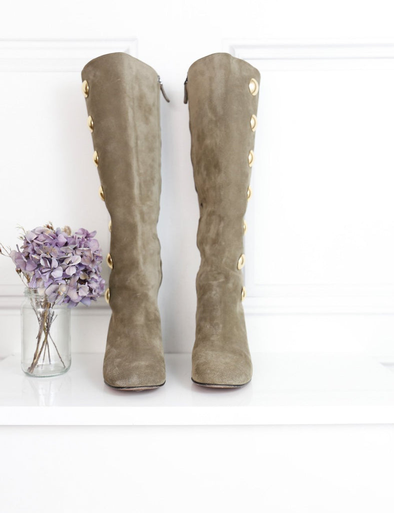 Chloe brown suede knee-high heeled boots 5UK- My Wardrobe Mistakes
